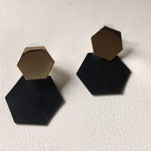 Black gold minimalist earrings